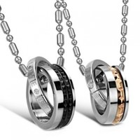 """JewelryWe New """"Eternal Love"""" Stainless Steel Interlocking Double Rings Pendant Necklace Couples Jewelry Set (One Pair & Single Item Selectable)"""