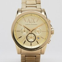 Armani Exchange AX2099 Chronograph Gold Stainless Steel Strap Watch at asos.com