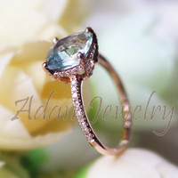 Pretty Solid 14K Rose Gold 8mm Cushion Cut VS Aquamarine Ring Accent Diamonds Engagement Ring  Wedding Ring/ Promise Ring/ Anniversary Ring