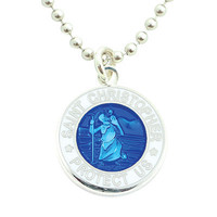 Get Back Supply Co — Small Silver-plated St. Christopher Medals (Royalblue-White)