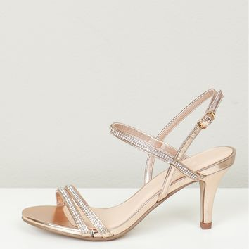 Strappy Sparkle Heels Rose Gold