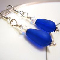 Sea glass Earrings Royal Blue - The 'Something Blue' in Wedding - Bridesmaids Earrings in Beach wedding FREE SHIPPING