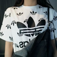 ADIDAS Women's Fashion Trendy Printed Short Sleeves F-AG-CLWM white