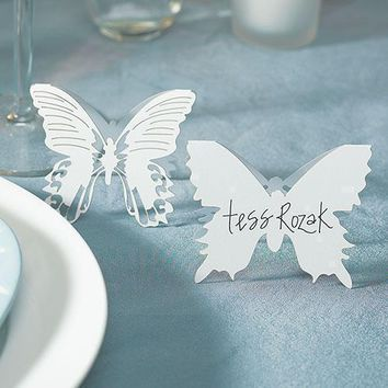 Laser Expressions Butterfly Folded Place Card - White (Pack of 12)