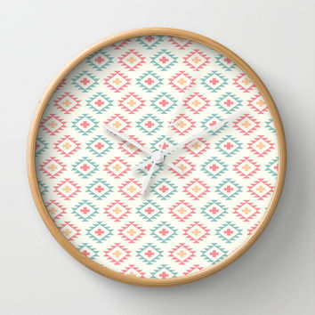 Southwestern Style Pattern on White Wall Clock by CandyBoxDigital