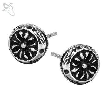 Trendy Flower Earrings Black For Girl Fashion Ear Stud Stainless Steel Piercing Tragus Punk Earing Mens Male Jewelry Gifts
