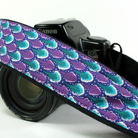 Art Deco dSLR Camera Strap, Purple, Teal, Silver, Canon Nikon camera strap, Photographer Gift, 34