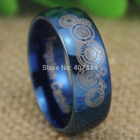 USA UK Canada Russia Brazil Hot Sales 8MM Doctor Who Time Lord Shiny Blue Dome Men's Fashion Tungsten Wedding Ring