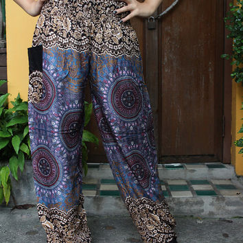Hippie Pants Boho Clothing Peacock Design women