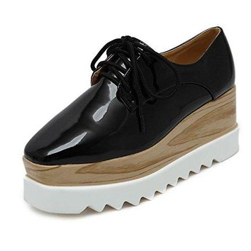 Tengyu Women's Platform Wedges Oxfords Classic Casual Lace Up Mid Heels Wingtips Square Toe Shoes (US8.5=EU40=24.8CM, Black)