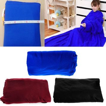 New Winter Fleece Snuggie Comfort Sofa Soft Warm Blanket Robe Cloak With Sleeves