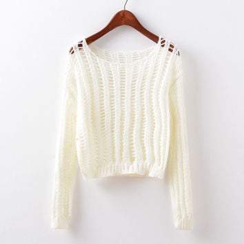 Long Sleeve Knit Round-neck Hollow Out Stylish Pullover Tops [9067782020]