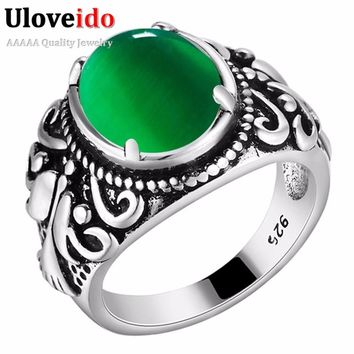 Size 6789 Women's Antique Silver Bague Green Rings for Women Fashion Jewelry Red Stone Ring Female Wide Designs Anel XMPJ115