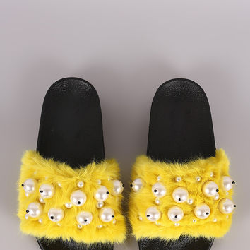 Faux Pearl Embellished Fur Slide Sandals