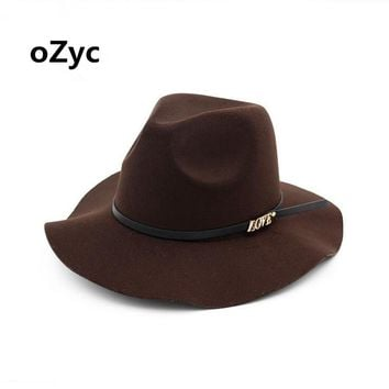 oZyc New Fashion Wool Women's Black Fedora Hat For Laday Woolen Wide Brim Jazz Church Cap Vintage Panama Sun Top Hat