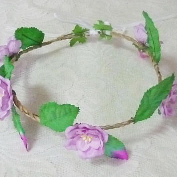 Violet flower crown paper flower Purple headband Tie back Flower crown paper