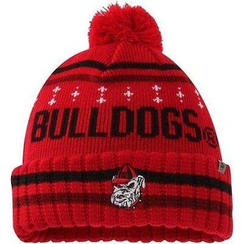 Georgia Bulldogs Top of the World Barometer Cuffed Knit Hat with Pom