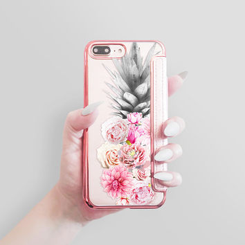 Rose Gold iPhone Wallet iPhone 8 Wallet iPhone 8 Plus Wallet Case Wallet Case Phone Wallet Faux Leather Wallet Womens Silver iPhone