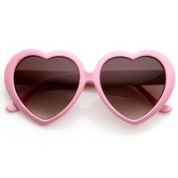 Large Oversized Womens Heart Shaped Sunglasses Cute Love Fashion Eyewear (Light Pink)