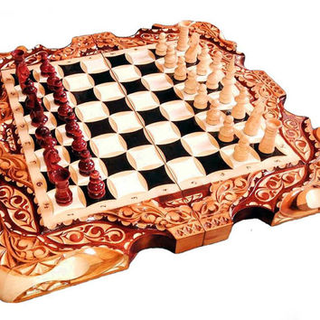 Wooden carved chess set Handmade chess set Souvenir chess set Present for him Gift for him Wooden souvenir