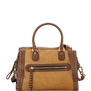 Brenda Studded Calf Hair Satchel Bag, Natural - Oryany