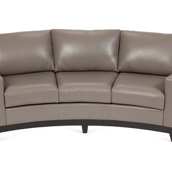 Bayside Curved Leather Sofa, Gray, Sofas & Loveseats