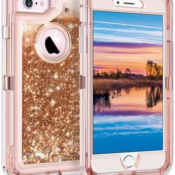 ONETOW iPhone 6S Plus Case, iPhone 6 Plus Case, Coolden Glitter Cute Phone Case Girls Bling Sparkle Dual Layer Liquid Case with Hard PC Bumper + Soft TPU Back for 5.5¡± iPhone 6/6S/7/8 Plus, Light Coffee