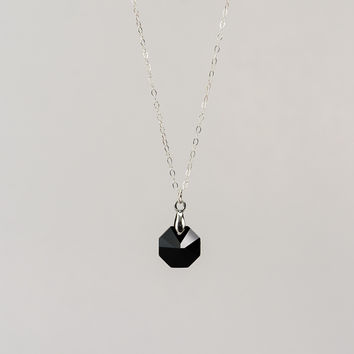 Octagon Necklace - Real Black Octagon Swarovski Stone Pendant Necklace