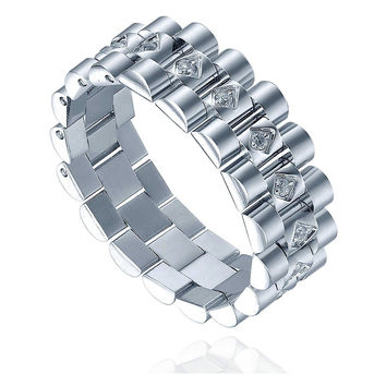 Stainless Steel 7mm Eternity Ring W. Cubic Zirconia Watch Band Link Style