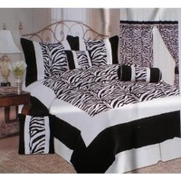 King Size Zebra Patchwork Micro Suede and Short Fur Black / White Comforter Set Bedding in a Bag
