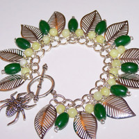 Art beads Gemstones Traditional Green Jade,Lemon Jade & Leaf Charm Bracelet