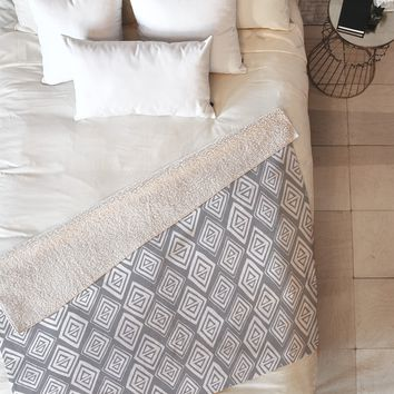 Heather Dutton Diamond In The Rough Grey Fleece Throw Blanket