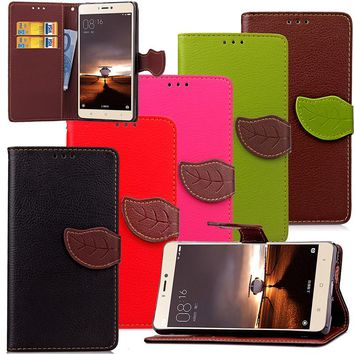 For Xiaomi 4 4s 4c Luxury Leather Cover Flip Wallet Phone Case With Leaves Buckle And Lanyard Mobile Phone Shell