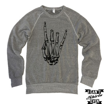 Skeleton Rock Hand Sweatshirt. Halloween Eco-Fleece Unisex Shirt. Rock 'n' Roll.