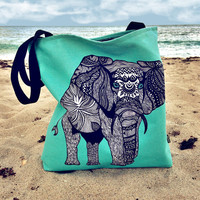 Turquoise Elephant of Namibia Tote Bag