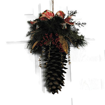 Sugar Pine Cone Winter Decor Accented with Lots of Faux Greens and Gold - (#300.6)