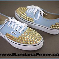 Bandana Fever Custom Studded Vans Authentic Bluebelle Gold Round Pyramid Studs