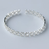 Hollow out sweet flower 925 Sterling Silver bracelet, a perfect gift