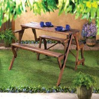 Convertible Wood Garden Table And Bench