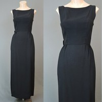 1960s Black Cocktail Gown with Bow and Tail - fits 35 inch bust