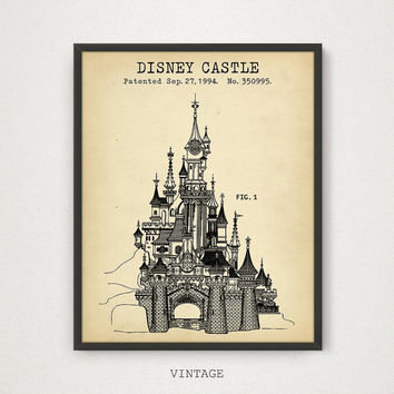 Best blueprint printing products on wanelo disney castle patent print digital download cinderella castle malvernweather Choice Image