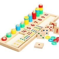 Baby Early Educational Toys Montessori Materials Gift Wood Math Blocks Shape Sorter Knob Puzzle Learning (17.32 X 5.51 X 0.59 Inch)