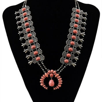 Bohemian Style Silver Plted Chunky Chain Turquoise Pink Gem Stone Resin Flower Pendant Necklace = 1928857156