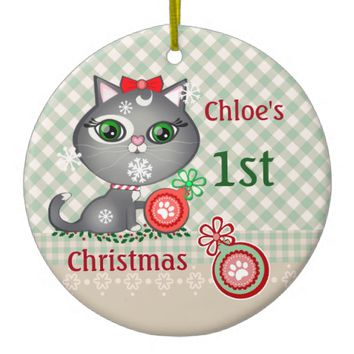 Custom Baby Girl Cat First Christmas Ornament