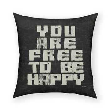 Free To Be Happy Throw Pillow