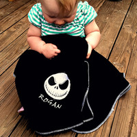 Jack Skellington Fleece Baby Blanket - Nightmare Before Christmas - Personalized