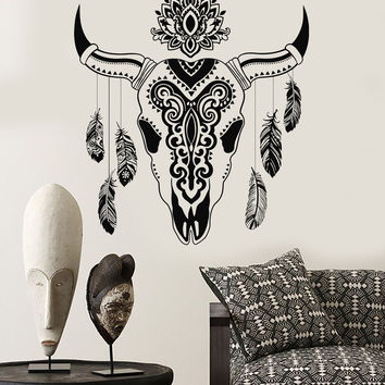 Vinyl Wall Decal Animal Skull Bull Feathers Ethnic Decor Stickers (715ig)