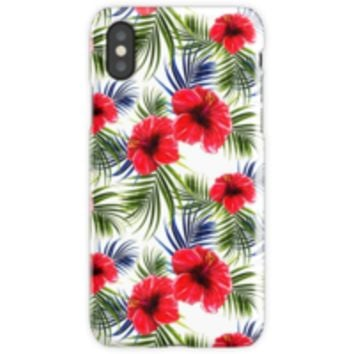 'TROPICAL FLOWERS AND LEAVES SEAMLESS PATTERN' Vinilo y funda para iPhone by Winston Casco