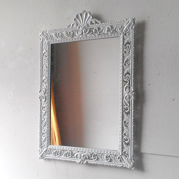 Large White Mirror in Vintage Brass Filigree Frame 21 by 15 Inches