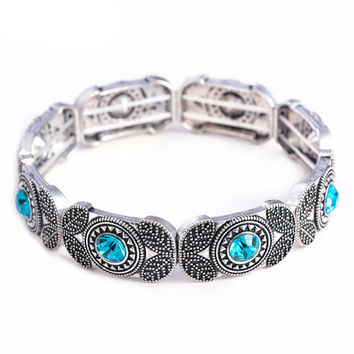 Vintage Gem Beaded Bangle Bracelet - Available in Various Colors
